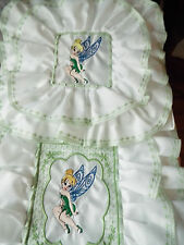 NEW- Dolls,Embroidered-Tinkerbell Motif, Bedding Set - cot/pram/bed.