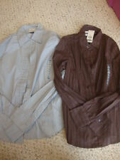 2 Women's NWT OLD NAVY button front perfect fit stretch long sleeve shirts , XS
