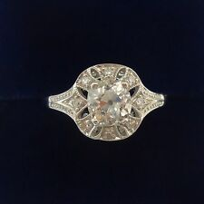 Antique Art Deco Diamond Ring -  1.08ct in 18ct White Gold  - Size P