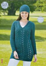 KNITTING PATTERN Ladies Long Raglan Sleeve V-Neck Lacy Tunic &Hat Aran KC 4349