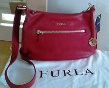 NWT FURLA SOPHIE LEATHER SHOULDER / CROSSBODY BAG RED GOLD ITALY $250