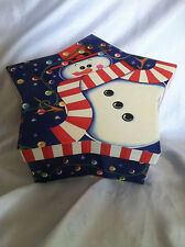 """LINDY BOWMAN TRINKET BOX STAR W/SNOWMAN HOLIDAY GIFT BOX 3"""" AND POINSETTAS"""