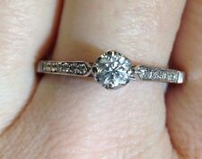 Elegant Antique 14K White Gold .32CTW Diamond E SI1 .20CT Center Engagement Ring