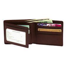 Royce RFID Blocking Bi-Fold With Double ID Flap, Full Grain Nappa Leather, Coco
