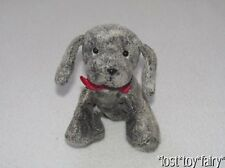 Russ Dark Gray Puppy Dog Furry Mini Bean Bag Red Bow Luv Pets Plush Toy 5.5""