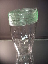 Scarce H. C. Fry Glass Unusual Shape Green Threaded Ribbed Vase with Air Bubbles