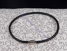 Polished Magnet Stainless Steel Clasp 6mm Black Leather Braided  Necklace Choker