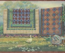 BLANKETS AND SHEETS ON LAUNDRY LINE DUCKS AND HOUSES Wallpaper bordeR Wall decor