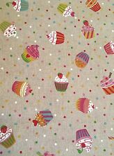 Fabric Cup Cakes Linen Look 80% Cotton 20% Polyester