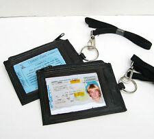 LEATHER ID CARD Badge Holder Neck Pouch Ring Wallet strap Key Money Travel Work