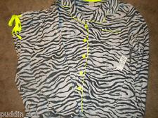 Sonoma gray animal print fleece pajama set with pocket & lime piping NWT XL