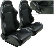 2 BLACK PVC LEATHER RACING SEATS RECLINABLE + SLIDERS VOLKSWAGEN NEW **