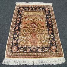 Seidenteppich Hereke Vase 69 x 50 cm Orient Teppich Wandteppich Silk Rug Carpet