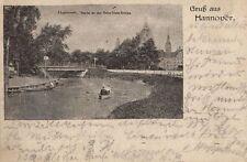 9302/ Foto AK, Gruß aus Hannover, Partie an der Bella-Vista-Brücke, 1921