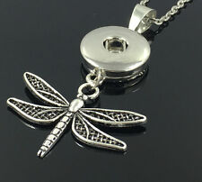 1pcs Dragonfly Alloy Pendant With Charm Necklace Fit 18mm Snap Chunk Button Q5