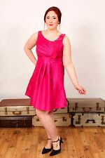 Donna Bella hot pink dress with faux silk flowers wedding races special ocassion