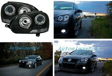 FARI ANTERIORI ANGEL EYES LED BIANCHI GOLF 5 +2 kit xenon installato abb + anabb