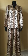 VICTORIA'S SECRET Satin Animal Print Pajama Lounge Sleep Shirt Pants Womens XS