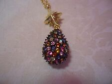 """JOAN RIVERS Kaleidoscope Crystal Egg Pendant With Gold-tone Chain 30"""""""