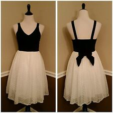 $69 Modcloth Adore You Black & Ivory Mesh Party Dress S Bow Romantic Soleiblu