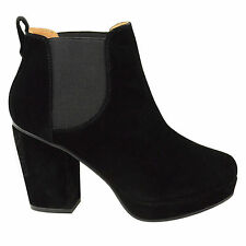 WOMENS LADIES MID HIGH HEEL BLOCK PLATFORM ANKLE LOW CHELSEA BOOTS SHOES SIZE