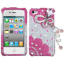 iPhone 4 4G 4S - 3D Diamond Crystal Bling Case Pink Silver Pearl Butterfly Bow
