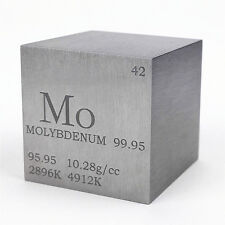 1inch 25.4mm Molybdenum Metal Cube 99.95% 168g Marked Periodic Table of Elements