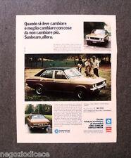 P729 - Advertising Pubblicità -1974- CHRYSLER SIMCA SUNBEAM