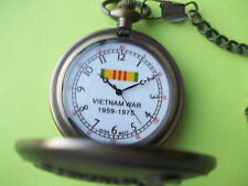 VIETNAM WAR MEMORIAL TYPE POCKET WATCH with metal chain - New and gift boxed
