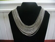 "Vintage 28 Strand Silvertone Metal Link Chain 16"" Necklace"