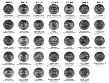34 US Nationalpark Quarter 2010 - 2016 D neu / unc