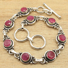 Bracelet 7 5/8 Inches ! Red RUBY Gemstone Fashion Jewelry ! 925 Silver Plated