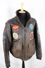 Vintage 80's Avirex G-1 Patched US NAVY Bomber Biker Leather Flight Jacket xl