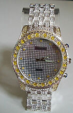 Mens big hip hop CZ Bling  clubbing watch Silver finish metal bracelet
