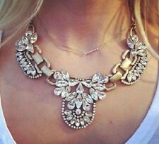 Hot New Trendy Jewelry Luxury Multi Crystal Cluster Bib Gold Statement Necklace