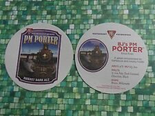 Beer COASTER ~*~ BJ's Nationwide Brewhouse PM Porter Robust Dark Ale ~ Old Train