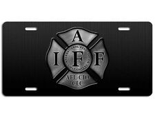 Firefighter IAFF License Plate - Maltese Cross Fire Department Steel Auto Tag