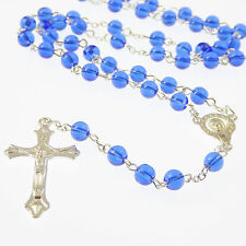 Deep royal blue glass Catholic rosary beads Our Lady center silver chain