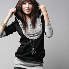 Women Hoodie B&W print Jacket Coat Sweatshirt Hooded Outerwear Tops Pullover BY