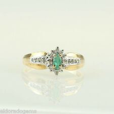 LADY'S MARQUISE EMERALD 0.35 CT. DIAMOND COCKTAIL RING 14K YELLOW WHITE GOLD US7