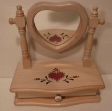 Heart Mirror Wood Jewelry Box 1 Drawer Open W/Ring Holder - Felt Lined