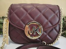 MICHAEL KORS FULTON QUILT SMALL FLAP CROSSBODY BAG $198 MERLOT