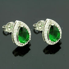 Sterling Silver Pear Emerald Zirconia Earrings Gift Boxed