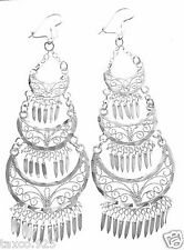 TAXCO MEXICAN STERLING SILVER FILIGREE DECO SCROLL DANGLE EARRINGS MEXICO