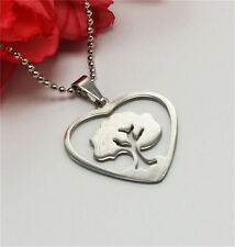 Women's Stainless Steel Hollow Lucky Tree Heart Shape Pendant Chain Necklace