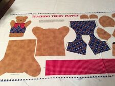 Teaching Teddy Puppet  to Sew 100% Cotton Cranston Print. Finished Size 9 & 3/4""