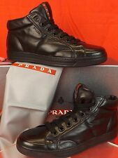 NIB PRADA BLACK SOFT FLEXIBLE  LEATHER LACE UP HI TOP LOGO SNEAKERS 12 13 $895