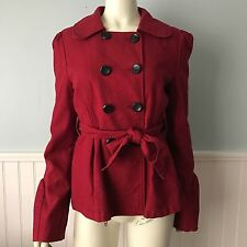 Tulle Anthropologie Red Peacoat Belted Jacket, Woman's Size Medium