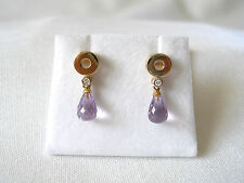 Krementz- 1.33 Ct. Amethyst 'Briolette' & Diamond  14k Gold Dangle Earrings