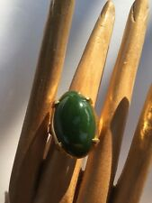 R1 antique JADEITE RING natural un-treated DEEP GREEN size 6 sterling/14k c.1900